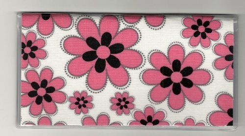 "Pink and Black Flowers Floral on White Checkbook Cover by Tickled Pink Boutique. $5.99. The sturdy clear VINYL COVER encases a fabric bonded design. Measuring 6 1/4"" x 3 1/4"",  the cover fits all standard bank checkbooks and banking registers.  All checkbook covers come with a register flap and a duplicate check flap  just like the bank, only flashier.  These checkbook covers are a great alternative to the expensive covers offered by banks and online check companies."
