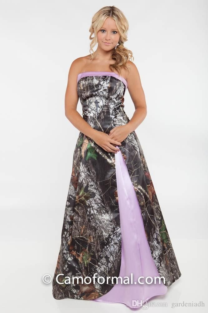 All Camo Wedding Dresses Strapless Lace-up Back with Split Side ...