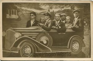 Family in fake car automobile great sun glasses antique arcade photo