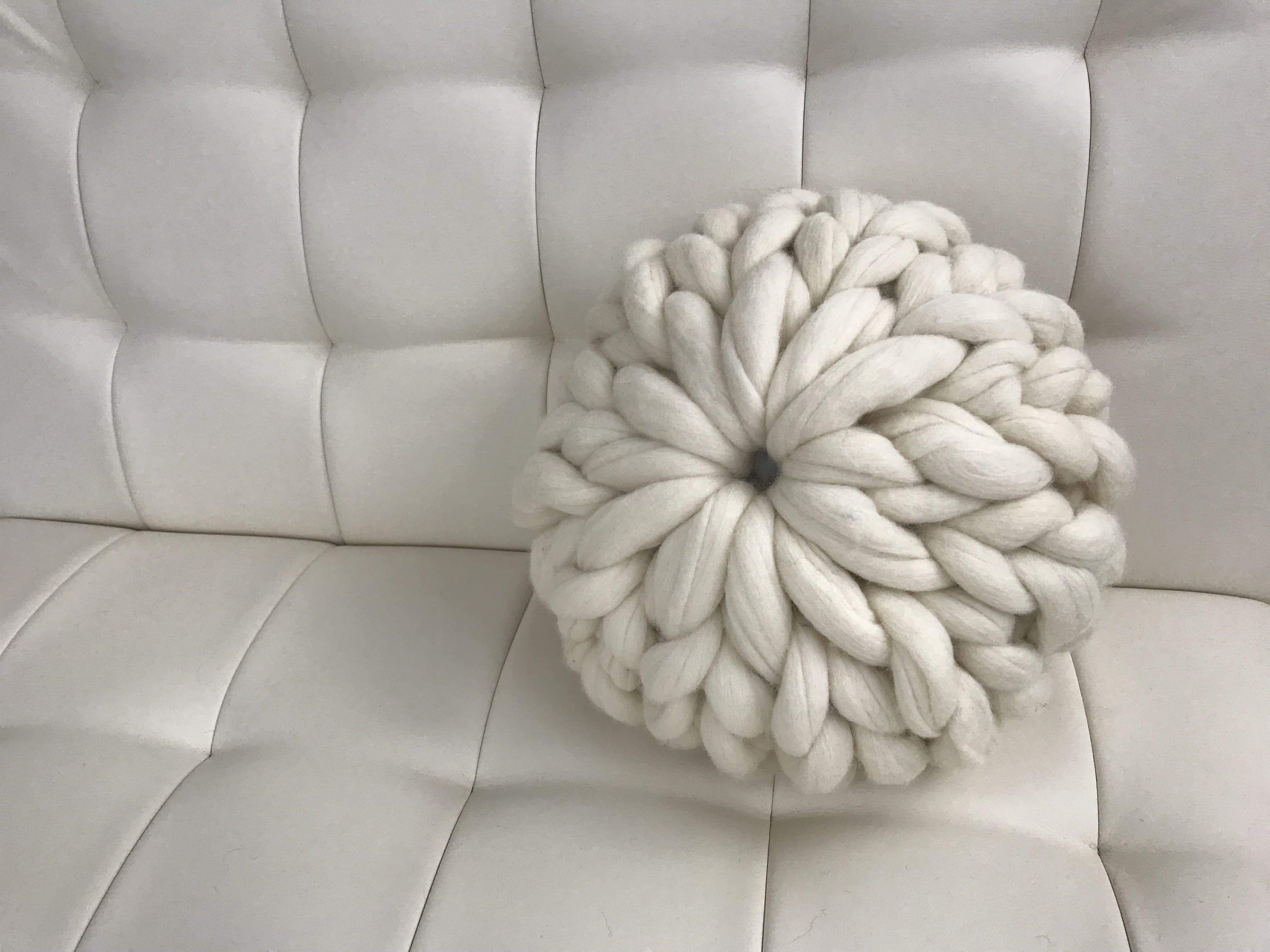 DIY Hand Knit Kit, Round Pillow, Felted Merino - Ash