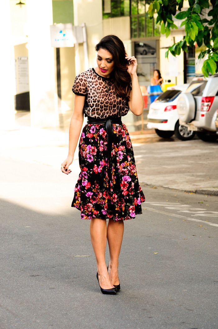 Fonte Blogsantaabusada Mixing Prints Mixing Patterns Fashion Prints Modest Fashion Skirt