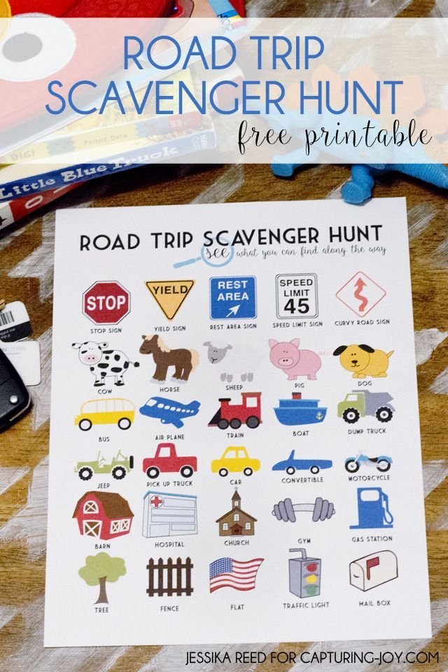 road trip scavenger hunt free printable activity to keep the kids entertained on a road
