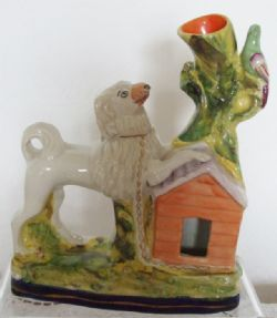 A scarce and amusing Antique English Victorian Staffordshire Pottery Poodle Spill Vase ~ H a2743 ~ CMP P10 ~ Stock Ref. AEVSPPSVHa2743-22 ~ BUY IT NOW at www.applecrossantiques.com