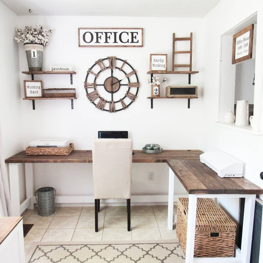 20 Creative Farmhouse Desk Ideas For The Home Office To Try With Images Rustic Home Offices Home Office Design Rustic Office Decor