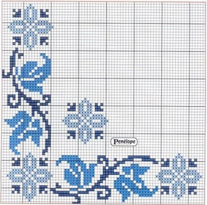 Punto de Cruz: Cenefas para manteles en Azul. | ideas costura ...