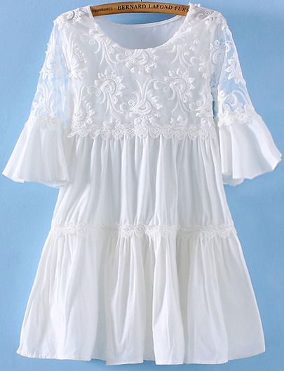 White Short Sleeve Embroidered Hollow Pleated Dress pictures