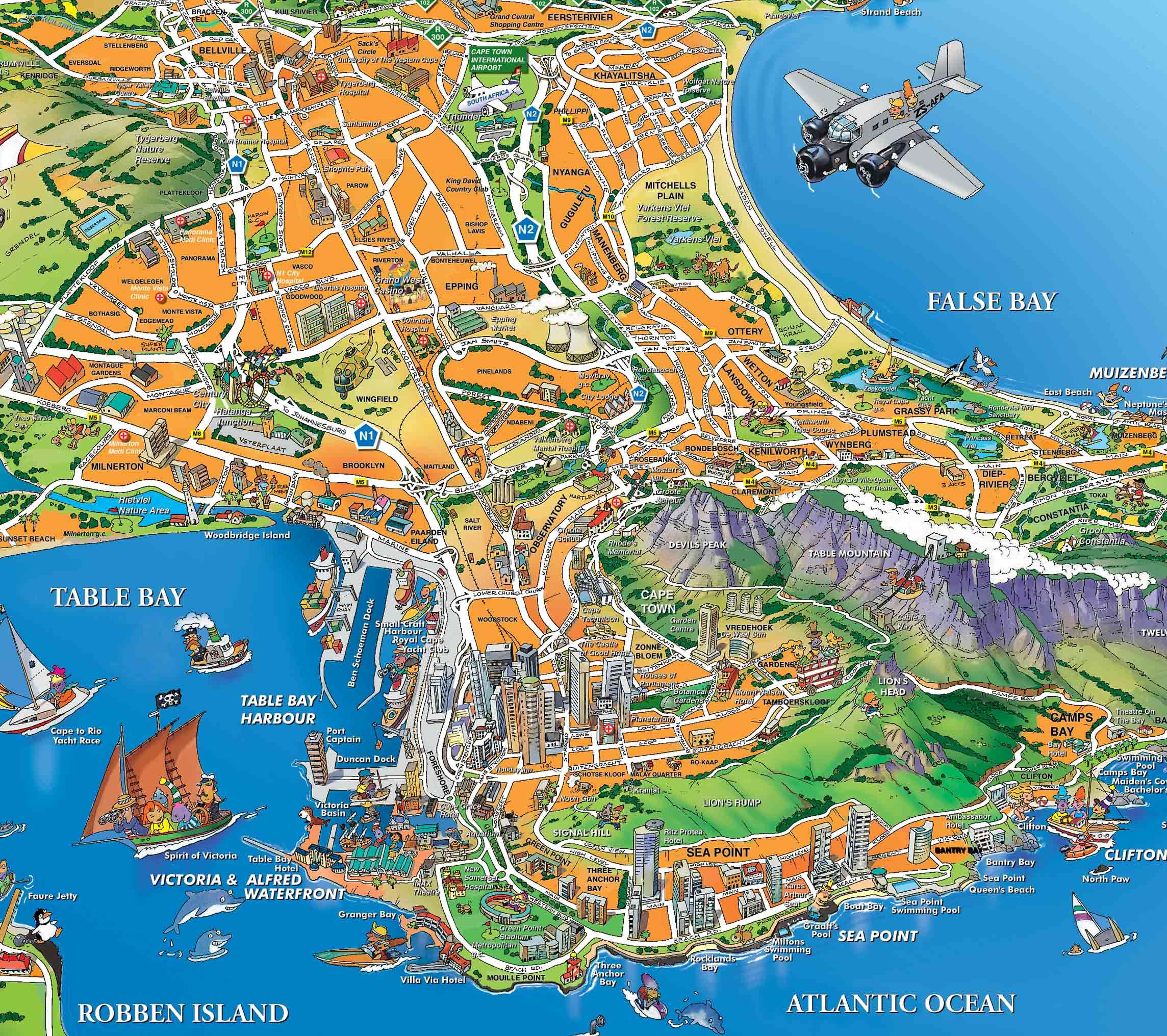 CapeTown Illustrated Map Idea buy illustrated maps of each place – Tourist Attractions Map In South Africa