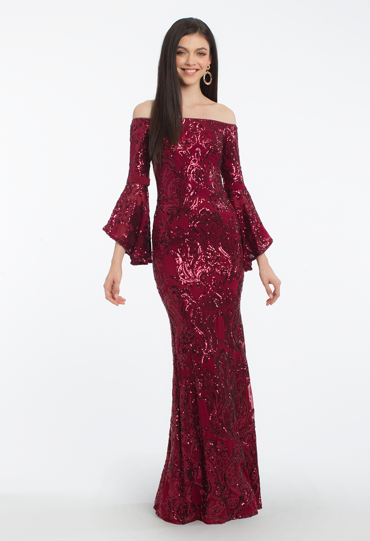 This Evening Gown Was Made For An Enchantress With Its Off The Shoulder Neckline Fully Sequined Bodice And Bell Sleeves T Dresses Prom Outfits Sequin Dress [ 1732 x 1184 Pixel ]