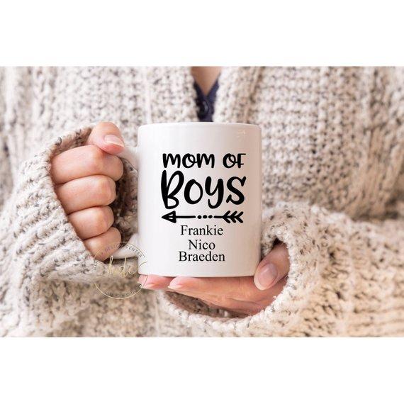 Mom of Boys Coffee Mug , Personalized Mom Gift Coffee Mug , Funny