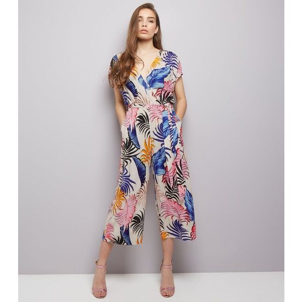 3c55412228 New Look White Tropical Print Wrap Front Culotte Jumpsuit (€30) ❤ liked on  Polyvore featuring jumpsuits