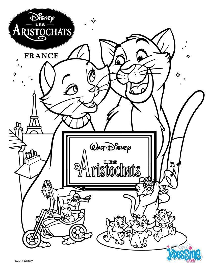 Un joli coloriage sur les Aristochats Viens colorier ses deux chats tout mignons de plein