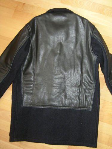 d7606df8180b Nigel-Cabourn-Donkey-Jacket-in-Navy-Wool-Leather-Size-46-BNWT-RRP-799