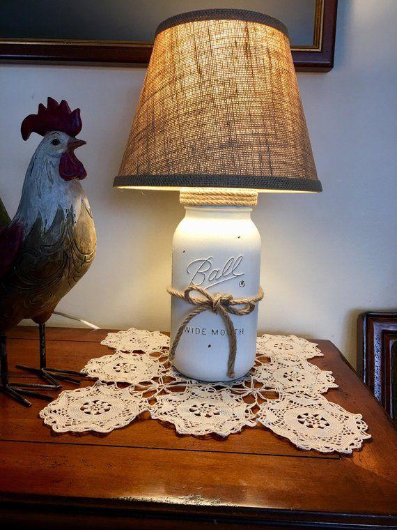 Mason Jar Lamp Table Lamp Country Rustic Lamp Farmhouse Style Lamp Farmers Style Decor Country Rustic Lamps Mason Jar Lamp Table Lamp