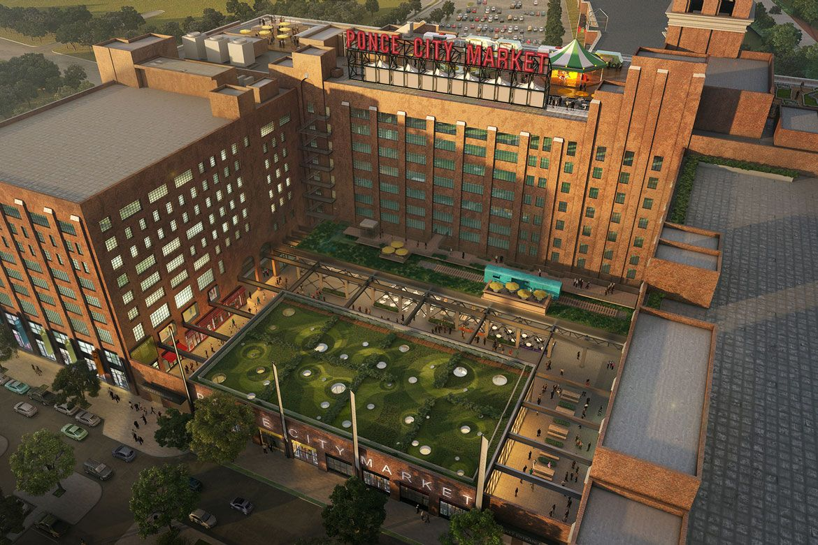 Ponce City Market View Of The Courtyard Entrance Off North Ave Rail Trestle And Rooftop Amusements With Images Ponce City Market Atlanta City Architect Magazine