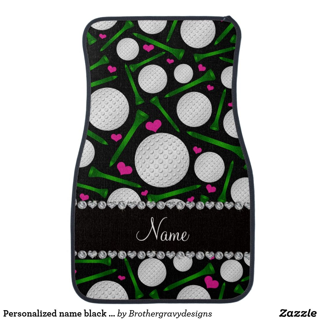 Personalized name black golf balls tees hearts car mat