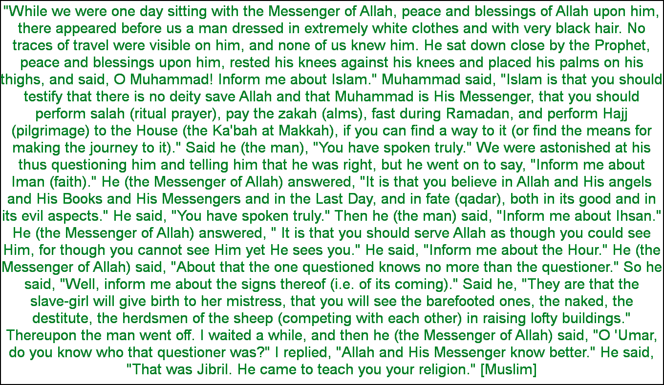 Image result for Hadith of Gabriel