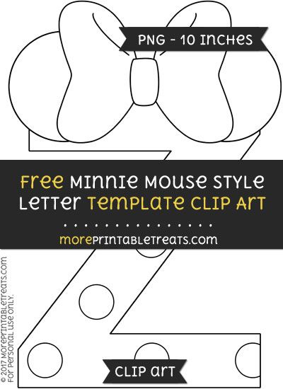 free minnie mouse style letter z template clipart minnie mouse