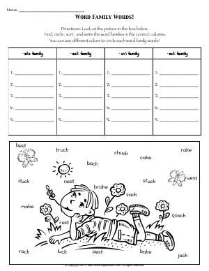 Worksheet Word Family Words Find Circle Sort And Write The Word Families In The Correct Columns Word Family Worksheets Word Families Family Worksheet In word family worksheets for