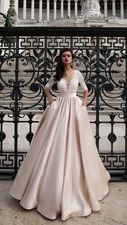 Champagne Satin Lace Wedding Dresses Half Sleeves Sheer Bateau Elegant Bridal Wedding Gowns 2018 Ball Gowns Wedding Peach Blush Wedding Dress Wedding Dresses Satin