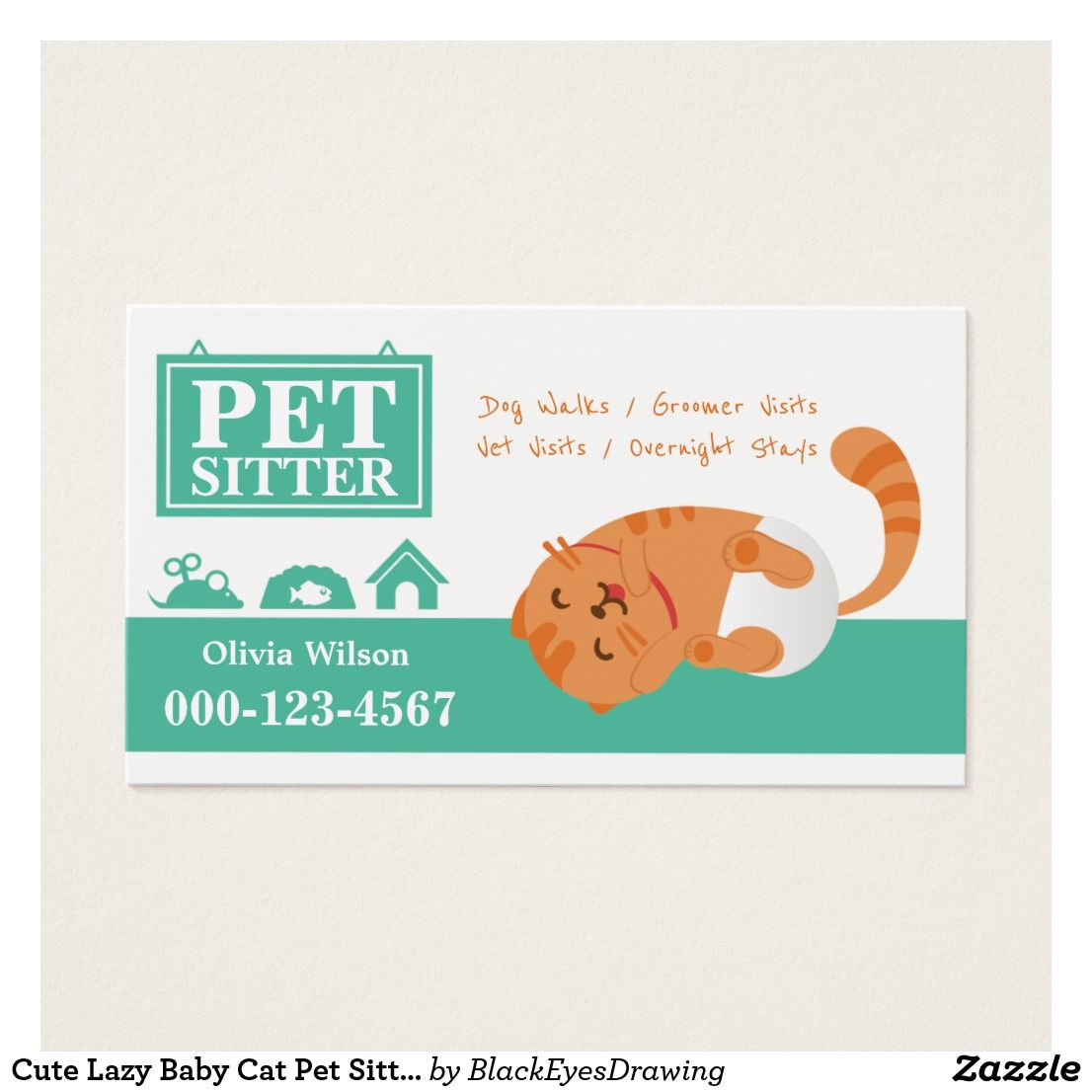 Cute Lazy Baby Cat Pet Sitting Service Business Card | Pet sitting ...