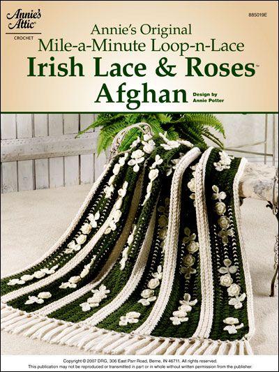 Free Crochet Irish Lace and Roses Afghan Pattern | Decken, Kissen ...