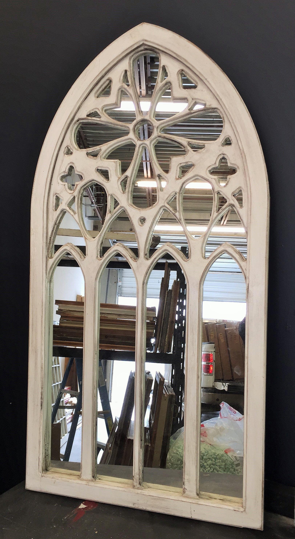 White Arched Window Mirror Handmade Rustic Window Mirror Wall