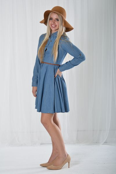 0a5d2078d85 Belted Denim Dress - My Sisters Closet