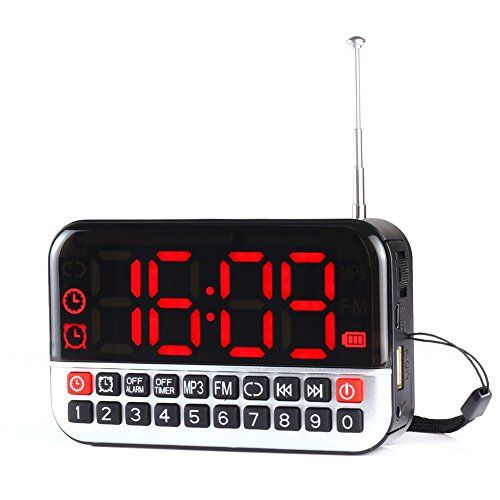 Longruner® L80 Portable 1800mAh Battery Clock/Alarm Clock USB Mini Speakers Kitchen  Radio(