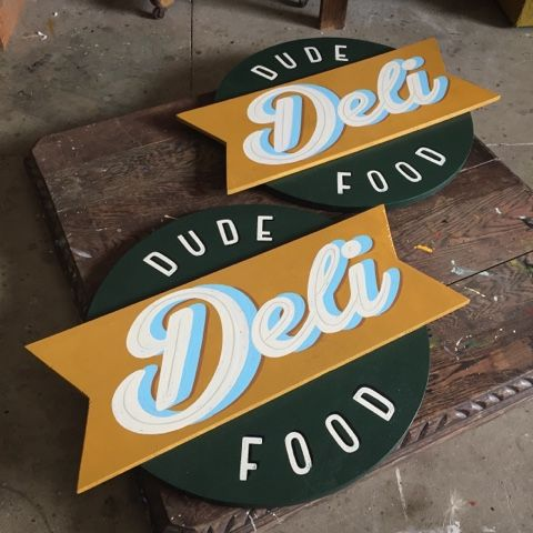Tj Pinstriping: Dude food deli signs