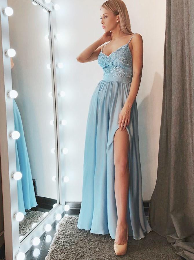 A-line Spaghetti Straps Light Blue Chiffon Lace Long Prom Dress slit Evening  Dress 26fe39ef8d7f
