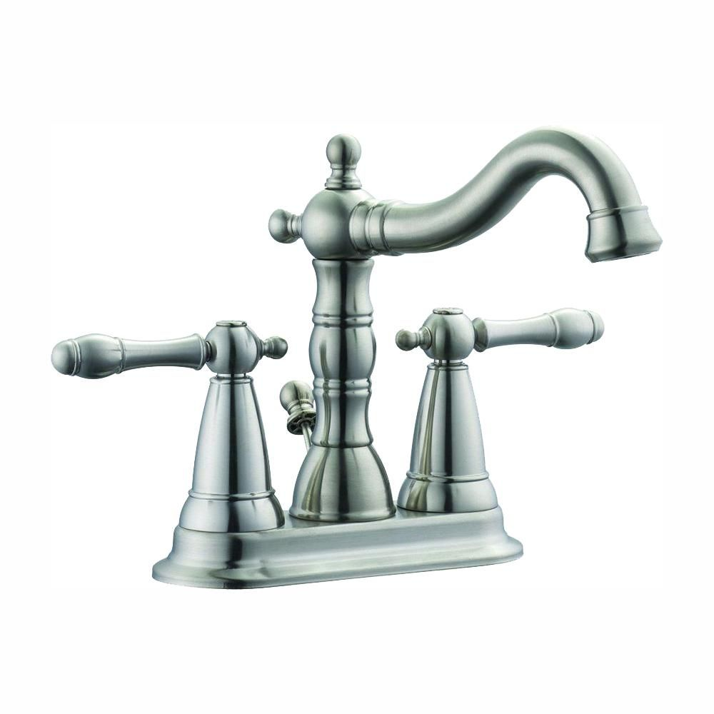 Design House Oakmont 4 In Centerset 2 Handle Bathroom Faucet In Satin Nickel 523290 The Home Depot Bathroom Faucets Lavatory Faucet Faucet