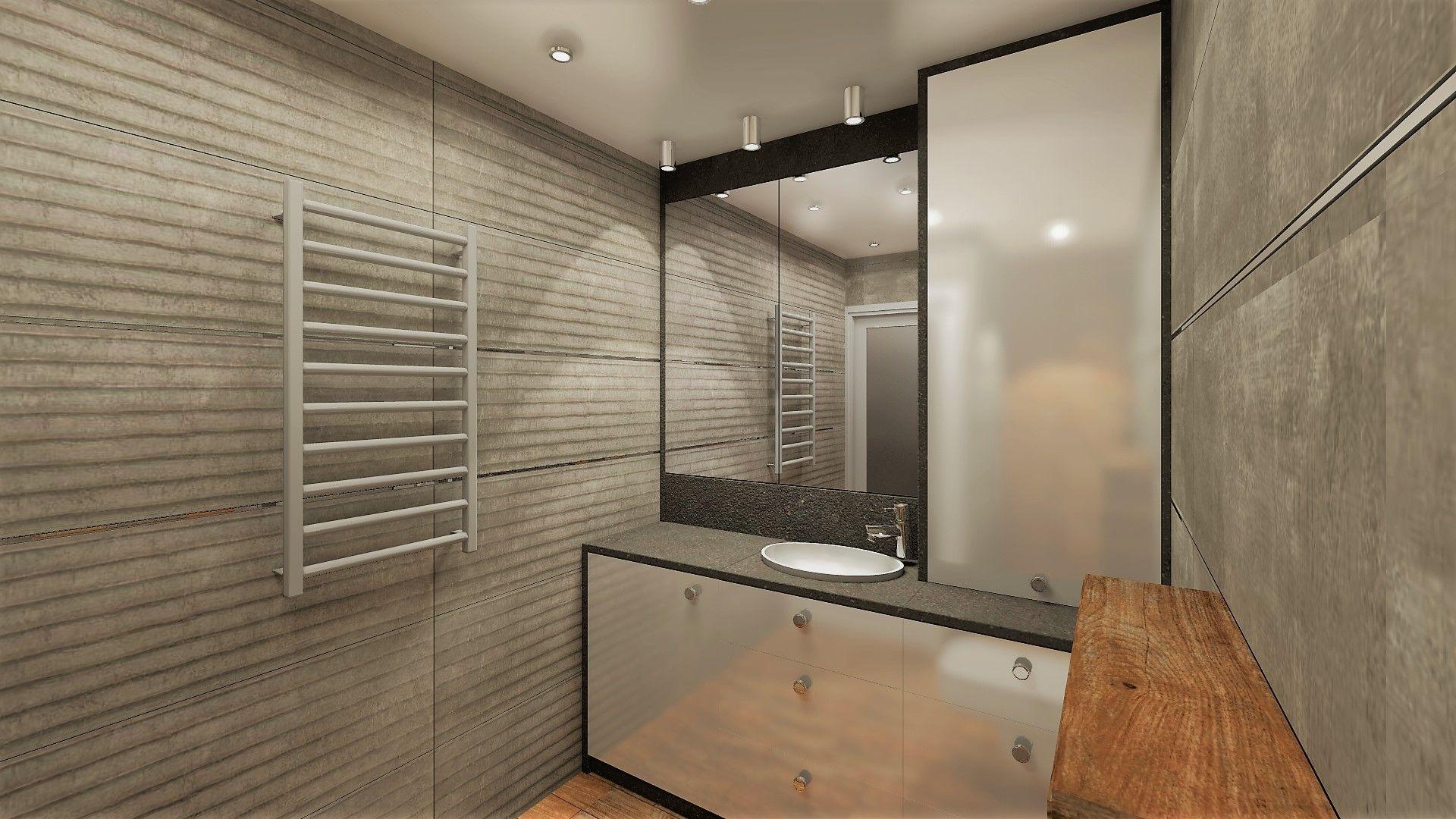 Projekt łazienki z zastosowaniem płytek imitujących beton #baldocer