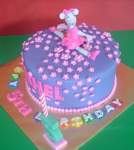 Angelina Ballerina fondant purple and pink birthday cake So cute