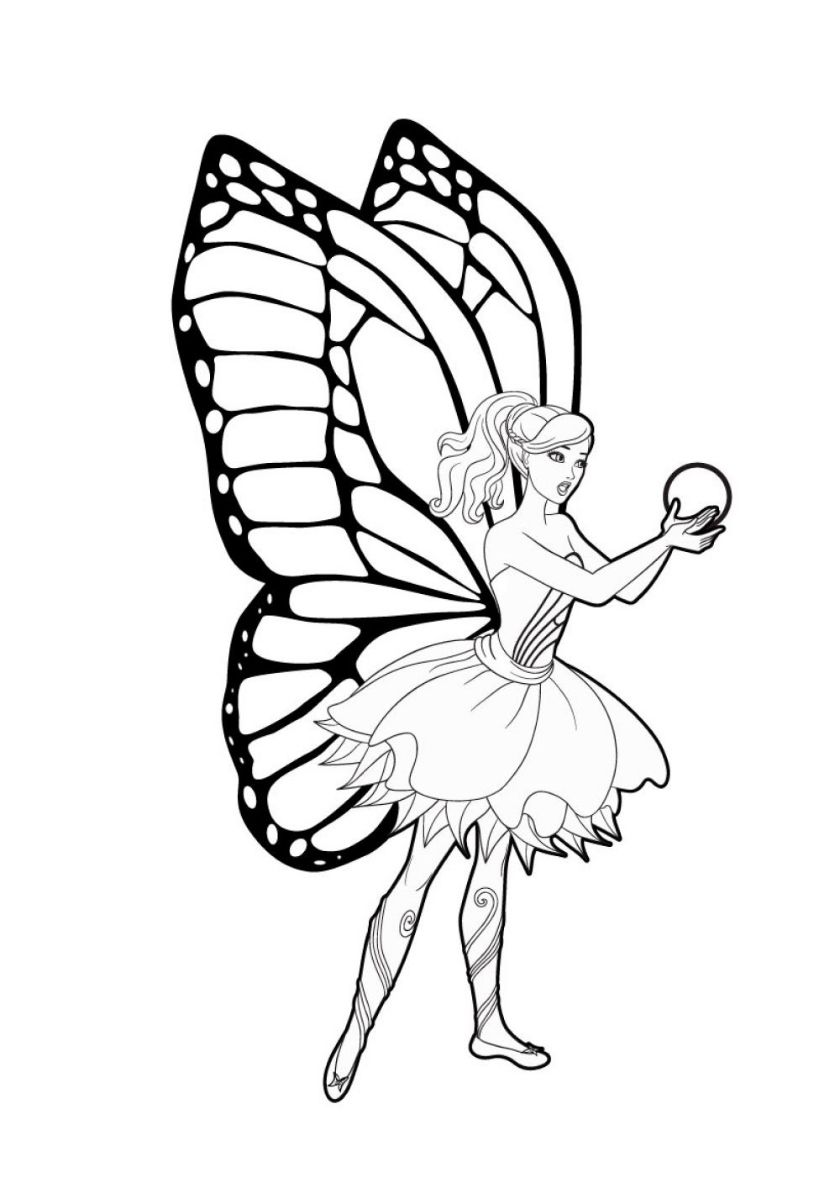 Butterfly With Pearl High Quality Free Coloring From The Category Barbie More Printable Picture Princess Coloring Pages Fairy Coloring Pages Fairy Coloring