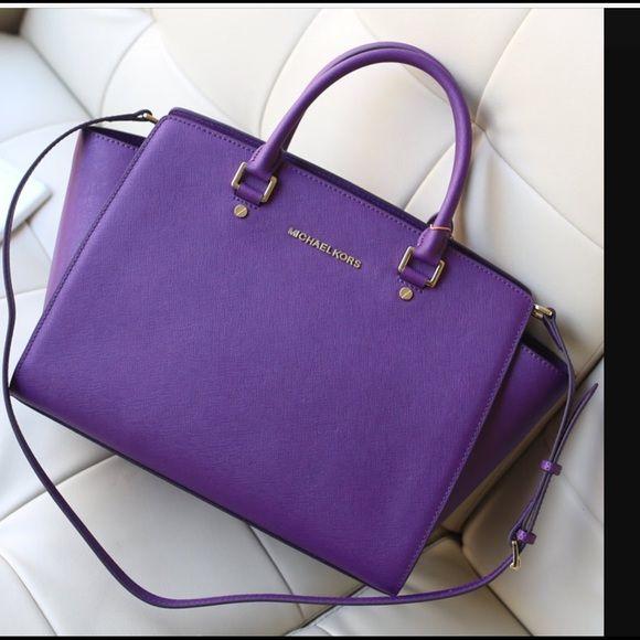 traded michael kors large purple selma bag my posh picks rh pinterest com