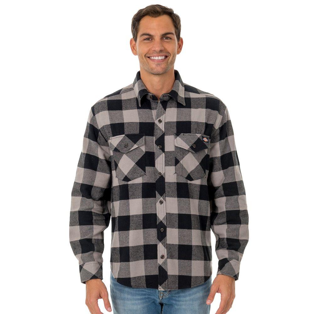 Dark blue flannel men  Big u Tall Dickies Brawny Plaid Flannel ButtonDown Shirt Dark Blue