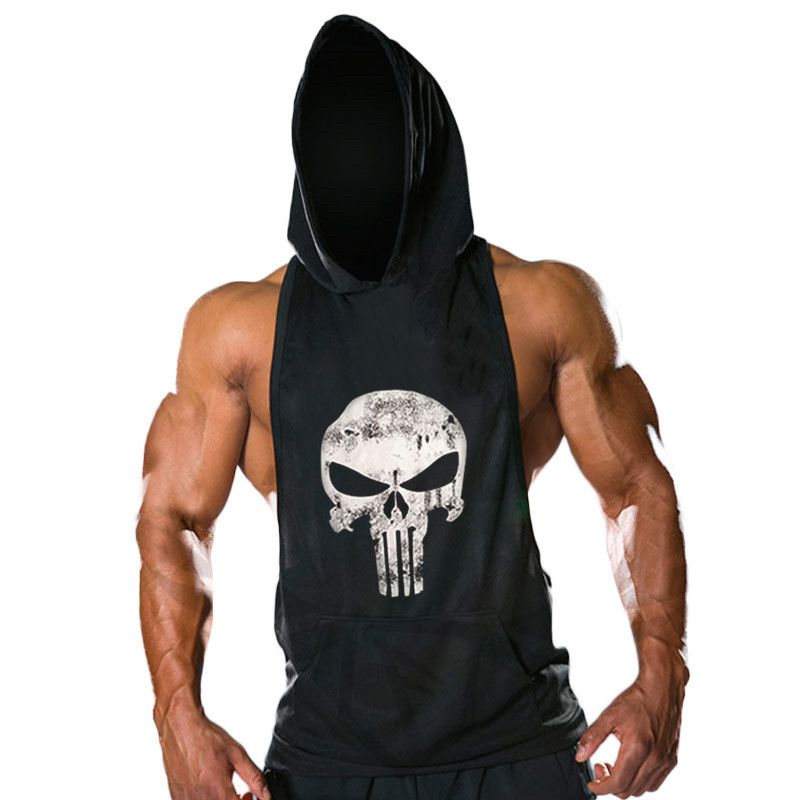 New Mens Sleeveless Hoodie T-Shirt Hooded Tank Top Cotton Hoodies ...
