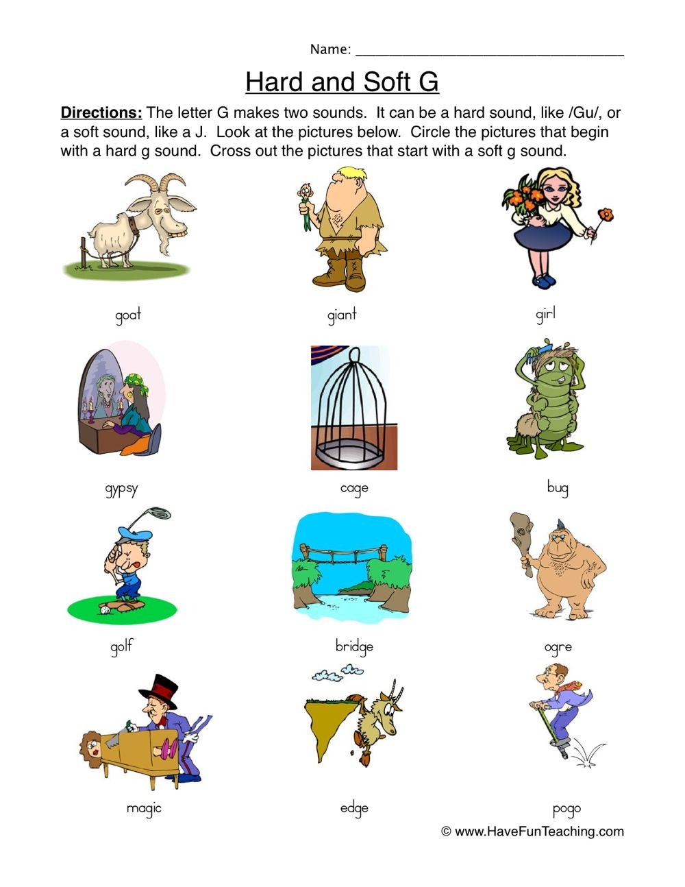 Hard soft g worksheet pictures in 2020 soft g words