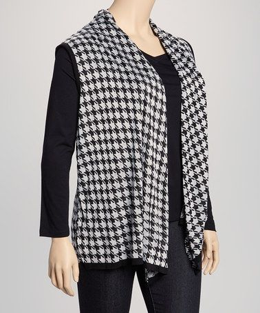 Take a look at this Black & White Houndstooth Sleeveless Open Cardigan - Plus by Art & Soul on #zulily today!