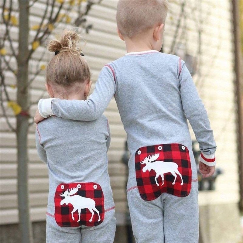 Twin Baby Boy Girl Brother Sister Christmas Elk with Faux Button Flap  Pajamas Jumpsuit d89d56dbc