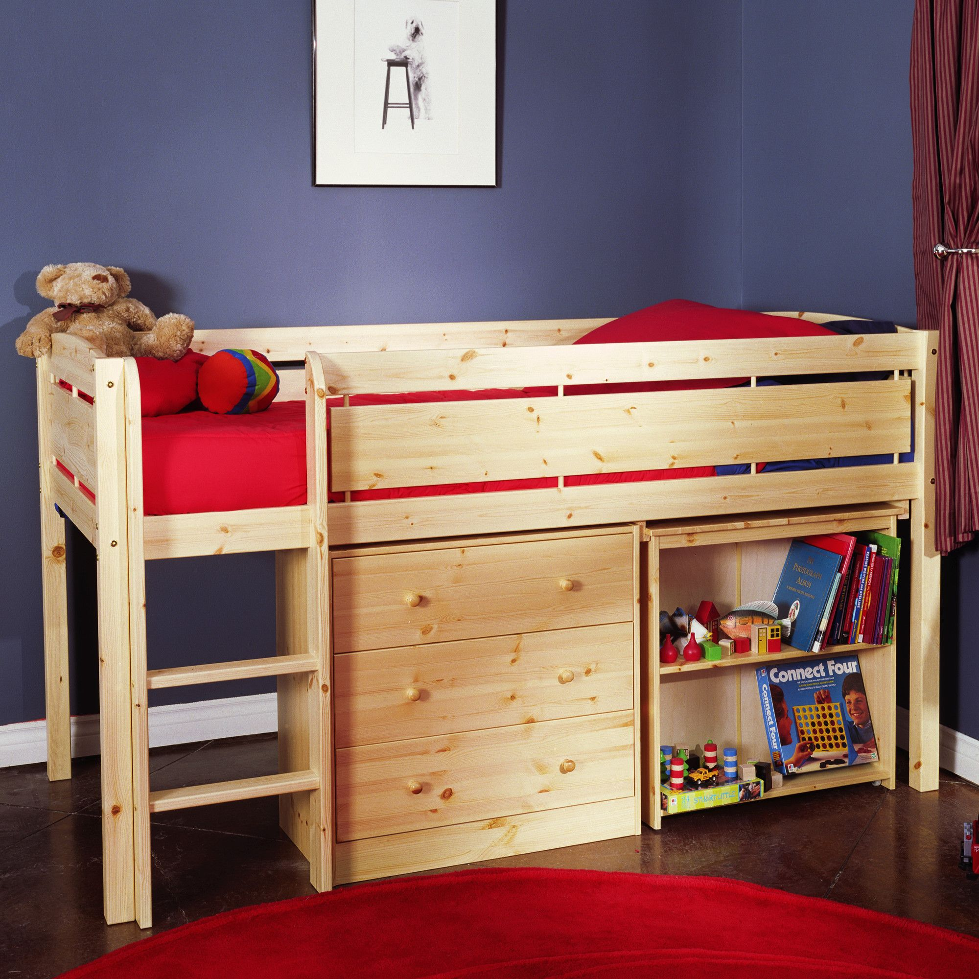 Canwood furniture whistler junior twin low loft bed with builtin