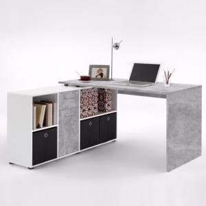 Flexi Modern Corner Computer Desk In Atelier And White White