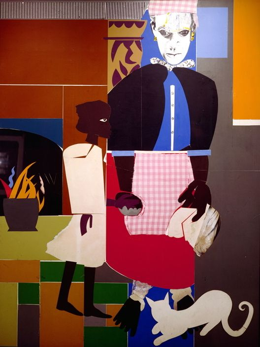 Romare Bearden Mother and Child ca.1976-77 Collage on canvas mounted on masonite 48 x 36 inches