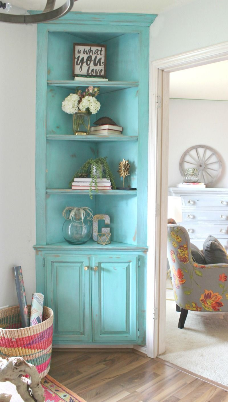 corner cabinets for living room color ideas with wood floors turquoise painted built in it s she den makeover reveal day refunk my junk
