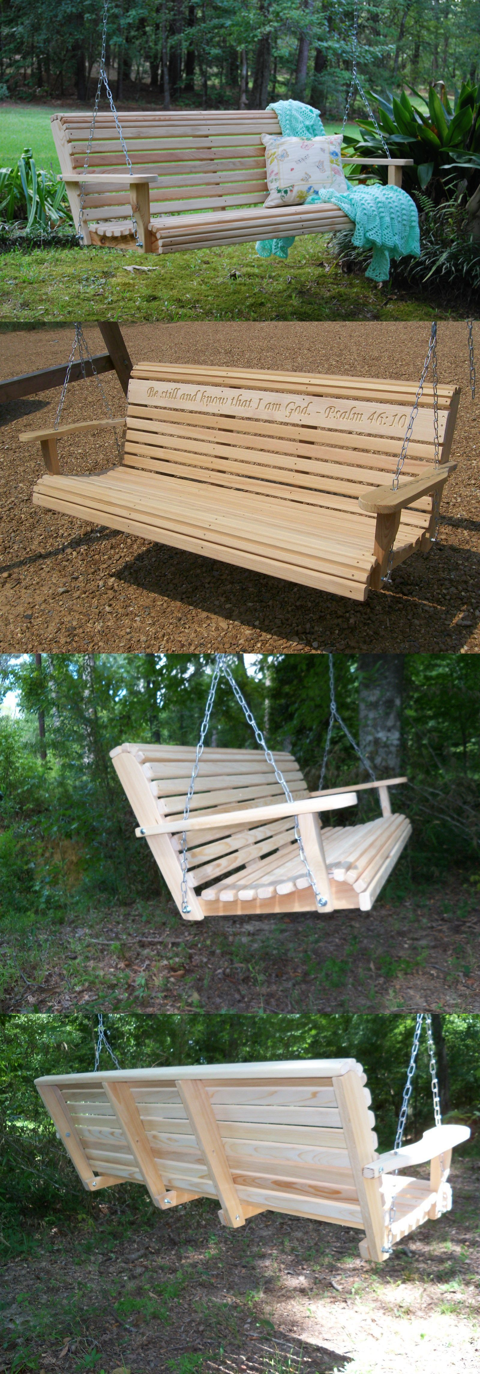 Swings ft cypress wood deluxe roll porch bench swing with