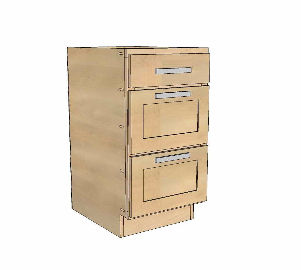 Three Drawer Kitchen Cabinet