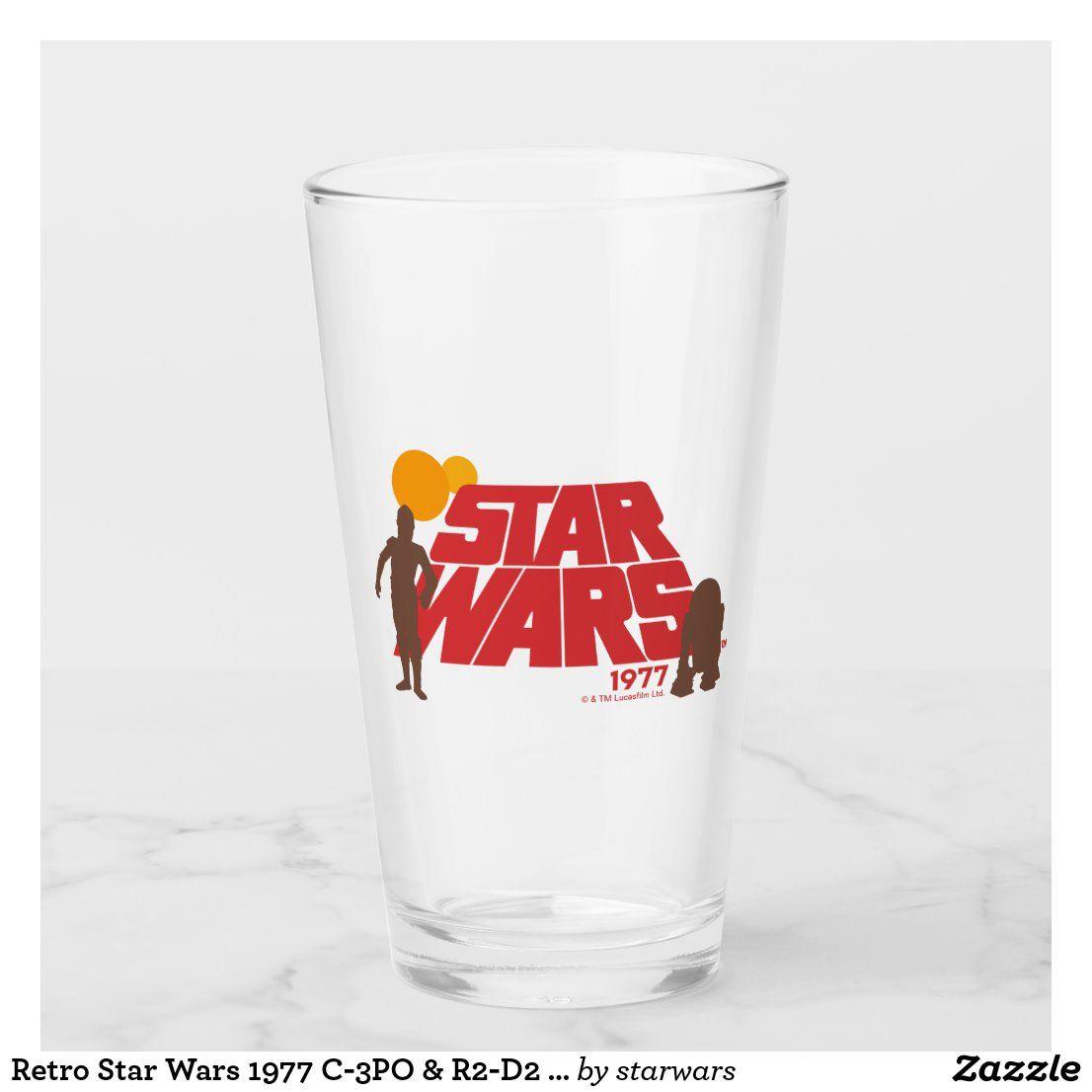 Retro Star Wars 1977 C 3po R2 D2 Logo Glass Zazzle Com In 2020 Star Wars 1977 Star Wars Merchandise Vintage Star Wars
