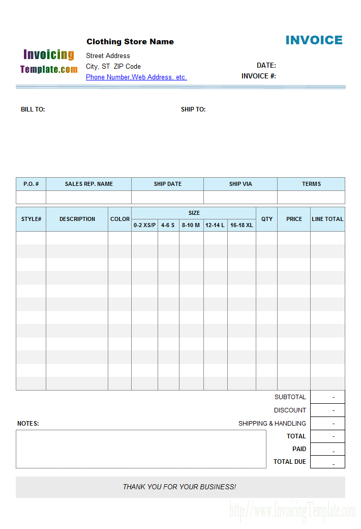 Clothing Store Manufacturer Invoice Format With Item