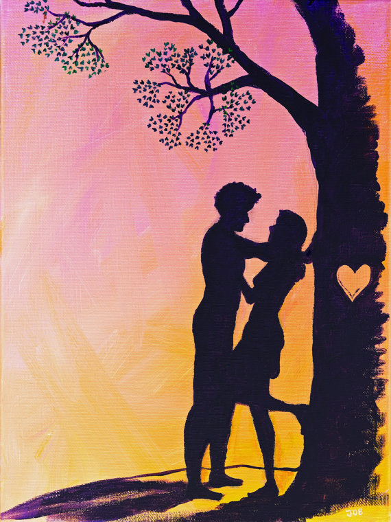 """Cute romantic love couple silhouette Valentine heart pink orange sunset acrylic painting  5"""" x 7"""" or"""