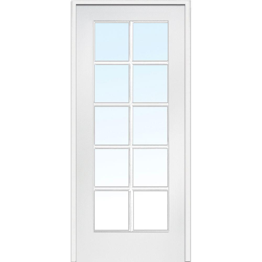 Mmi Door 30 In X 80 In Left Handed Primed Composite Clear Glass 10 Lite True Divided Single Prehung Interior Door Z009303l The Home Depot In 2020 Prehung Interior Doors Doors Interior Glass French Doors